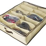 ZizHome Under Bed Shoe Organizer for Kids and Adults (12 Pairs ) – Underbed Shoes Closet Storage Solution – Made of Breathable Materials with Front Zippered Closure – Easy to Assemble