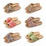 Slip-ons Non-slip Flax Open Toes Sandals Moisture Wicking Indoor or Outdoor Mules Ethnic VINTAGE Shoes