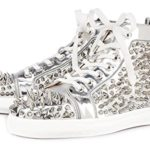 ZXD Fashion Studded Patent High Top Sneakers Lace up Hiking Shoes Rivets Flats Shiny Silver Unisex