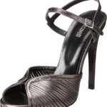 Just Cavalli Womens Laminated Leather Open Toe Heels