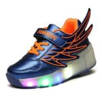 Kids Youth Boy Light Up Wheels Roller Shoes LED Skates Sneakers Wings Design