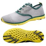 Men's Mesh Lace-Up Quick Drying Aqua Water Shoes Breathable Lightweight Fashion Walking Shoes (9.5 D(M), Green)