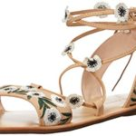 LOEFFLER RANDALL Women's Fleura Lace-up (Embroidered Leather) Sandal