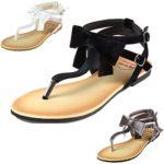 Alpine Swiss Women's Velvet Bow Sandals T-Strap Thong Gladiator Slingback Flats