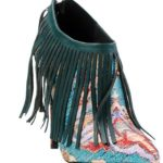 "Just Cavalli ROBERTO Zip-Up ""Leather Fringe Over Printed Satin"" Booties"