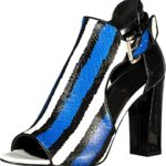 Just Cavalli Striped Printed Leather Patent Leather Leather Sole China Blue High Heels