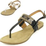 Alpine Swiss Womens Suede Lined Slingback T-Strap Rhinestone Sandals