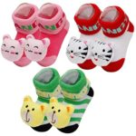 Happy Cherry 3 Pair Baby Shoes – Girl 3D Cartoon Animal Socks, Rattle Socks, Baby Booties, Slipper Socks – Random Color – 0-9 Month