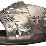 Kenneth Cole REACTION Women's Slim Slip X-Band Upper and Cute Bug Jewels-Metallic Flat Sandal