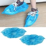 Topeakmart Cleaing 100 Pcs Disposable Boot & Shoe Covers Fabric Blue One Size Fits All
