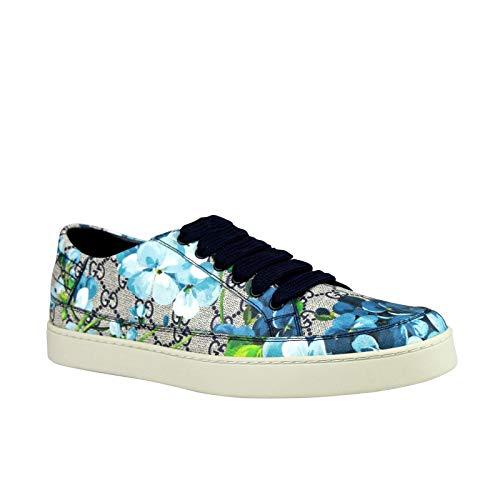 f42c4189b9c Gucci Bloom Flower Print Blue Supreme GG Canvas Sneaker Shoes 407343 8470